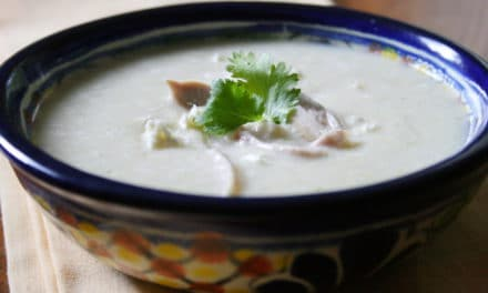 Sweet Corn Soup with Shredded Chicken and Cotija Cheese
