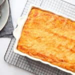 Sweet Potato Souffle in baking dish on cooling rack