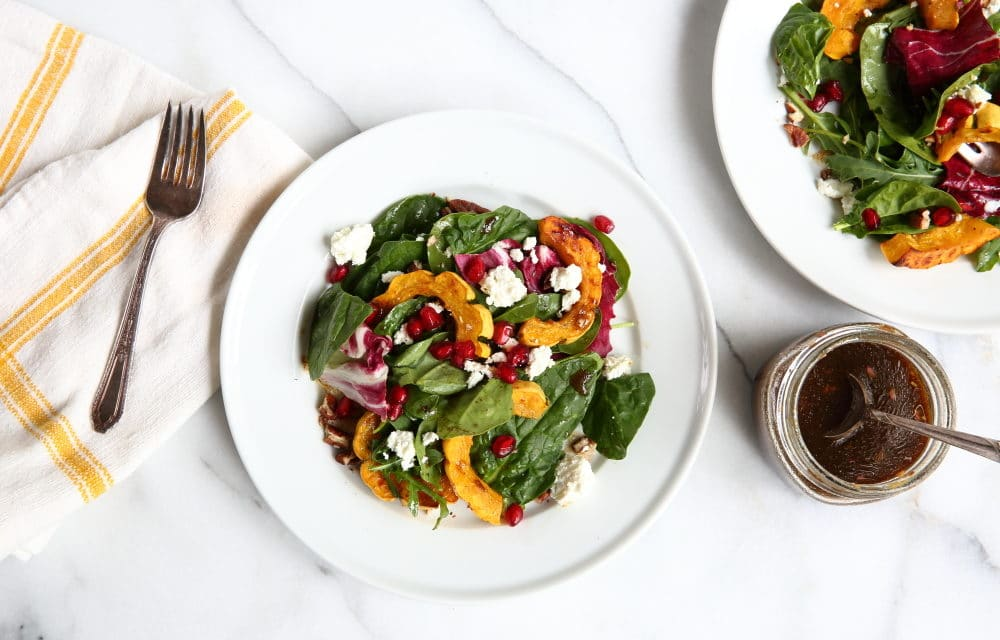 Roasted Squash Salad with Goat Cheese & Pomegranate Seeds