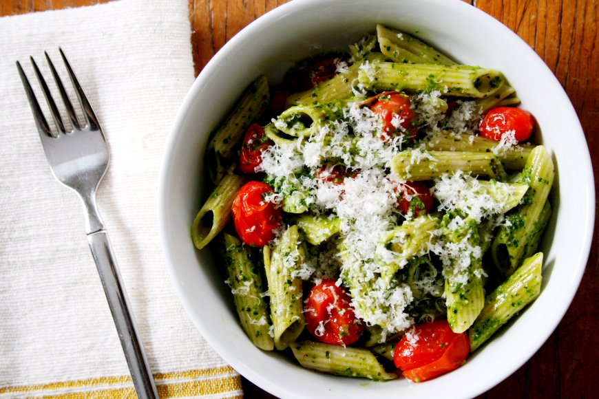 Penne Pasta with Kale Pesto and Roasted Grape Tomatoes