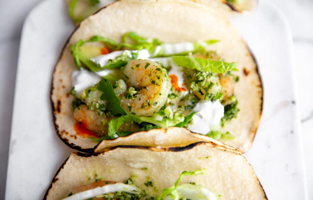 Shrimp Tacos with Cilantro Lime Pesto (Healthy & Easy!!)