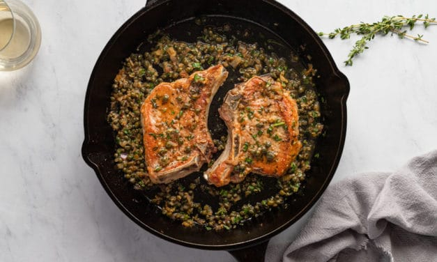 Cast Iron Pork Chops Recipe with Shallot Caper Sauce