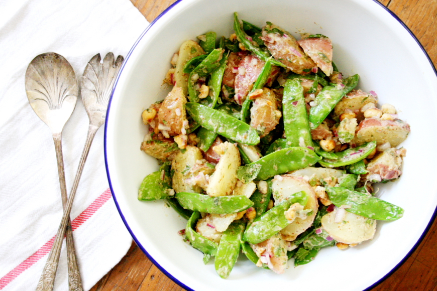 Potato and Snow Pea Salad with Toasted Hazelnuts