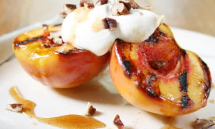 Grilled Peaches with Honey & Cardamom Cream