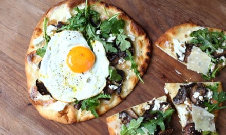 Roasted Mushroom, Goat Cheese & Arugula Flatbread Pizzas