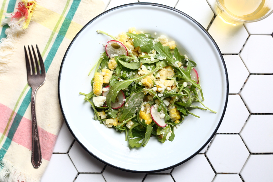 Healthy Mexican Street Corn Salad with Arugula & Creamy Ancho Dressing