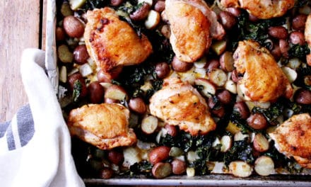 Roasted Chicken Thighs with Potatoes & Kale: a one-pan dinner!