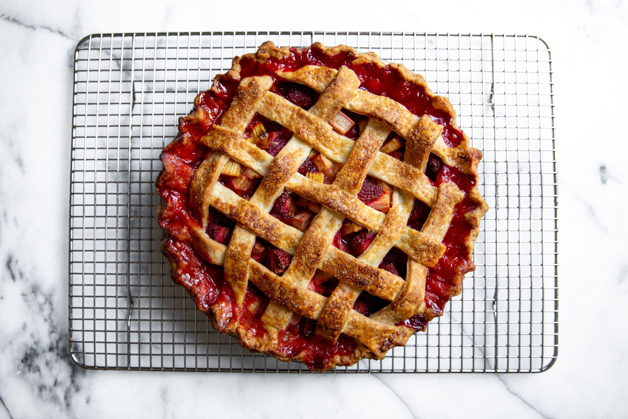 Overhead shot of strawberry rhubarb pie made with with easy gluten free pie crust
