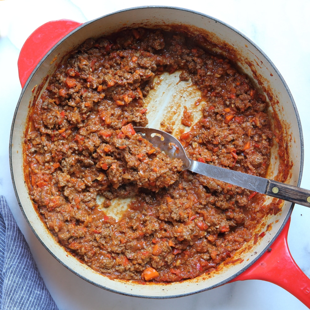 Healthy sloppy joes in skillet
