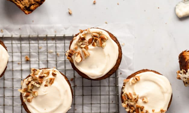 Gluten Free Carrot Cake Muffins Recipe with Maple Cream Cheese Frosting (Paleo Friendly!)