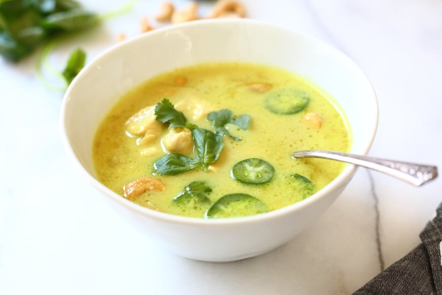 Coconut Cashew Curry Soup in bowl