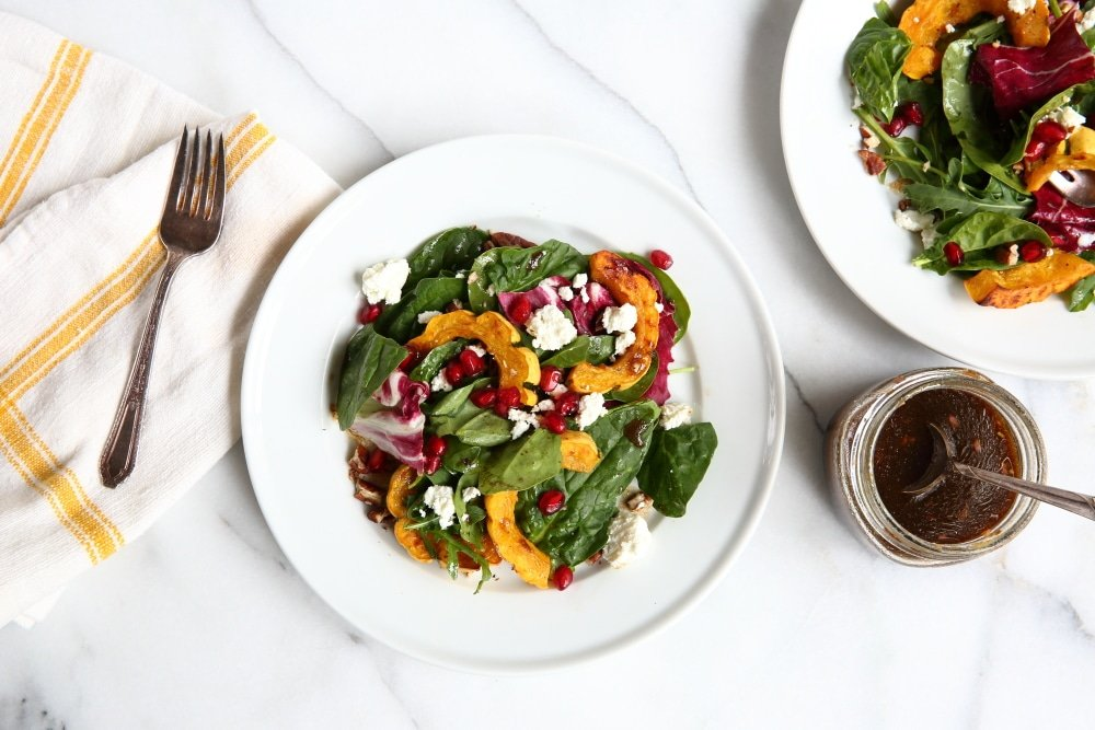 Gluten Free Recipes Roasted Squash salad on serving plates.