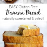 Gluten free banana bread stacked with butter