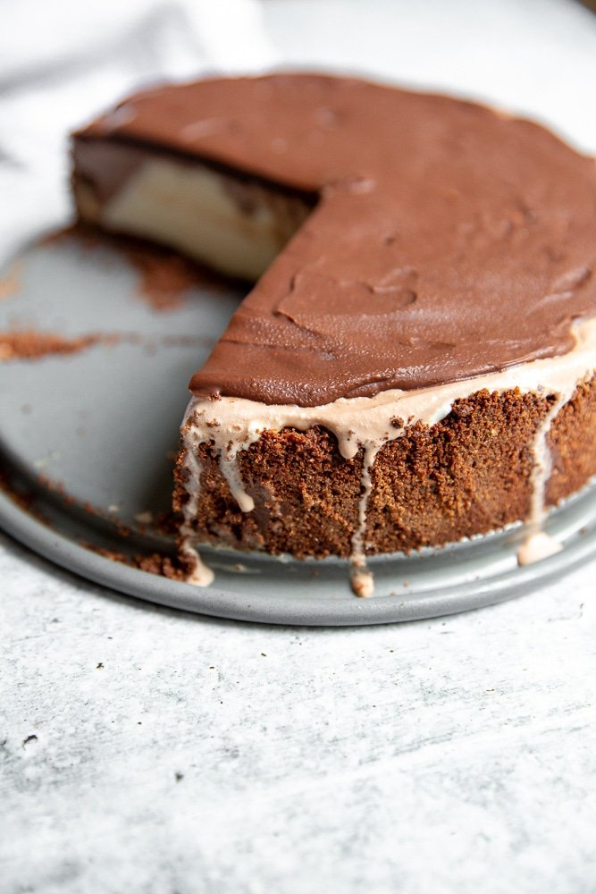 Easy ice cream pie on plate with slices cut out
