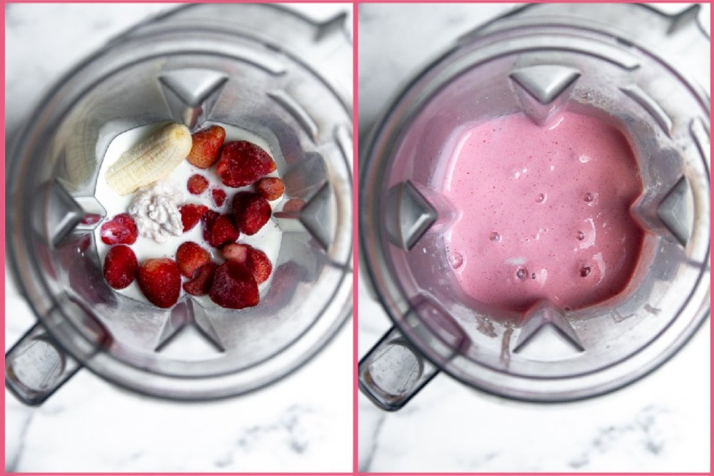 Process shot for making strawberry cottage cheese smoothies in the blender, divided into two frames.