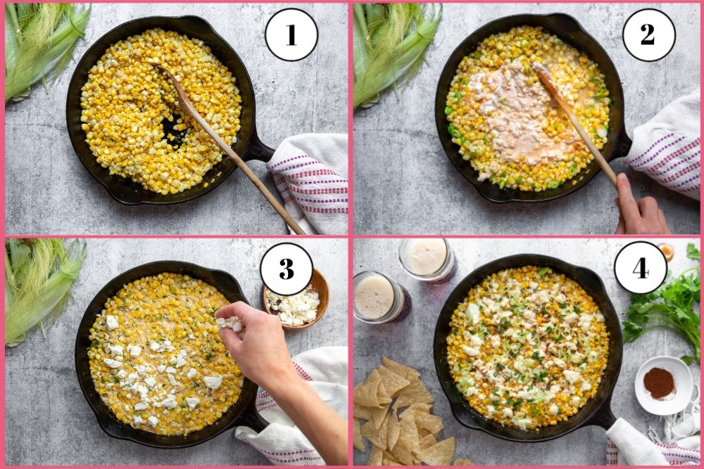 Process shot showing how to make elote dip, divided into 4 quadrants, starting with sautéing the corn, then adding the other ingredients, then topping the dip with feta and finally serving the cooked dip.