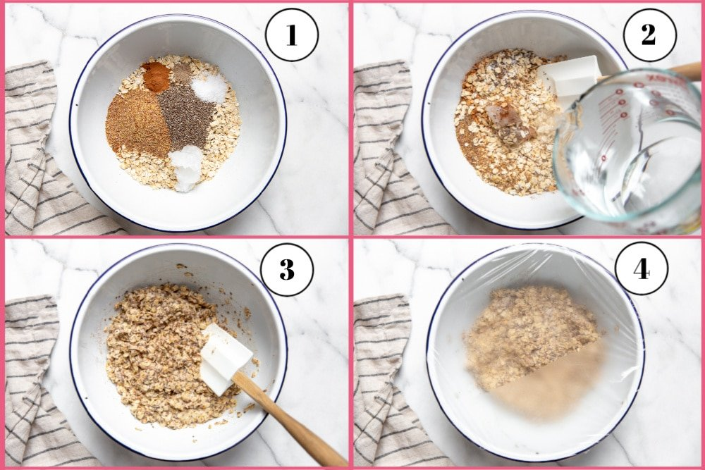 Process shot divided into 4 quadrants showing how to make the oatmeal mixture.