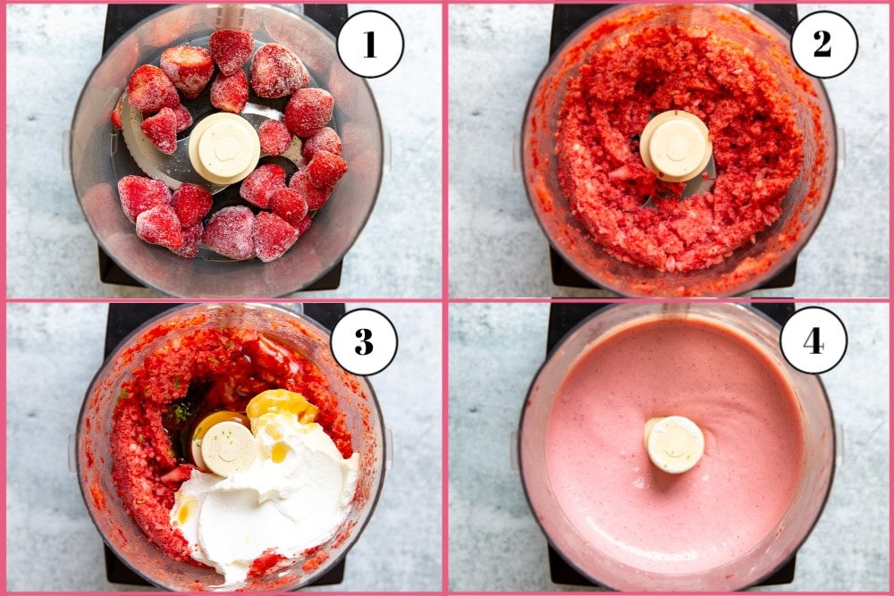 Process shot divided into four quadrants showing the four steps for making the strawberry frozen yogurt recipe.