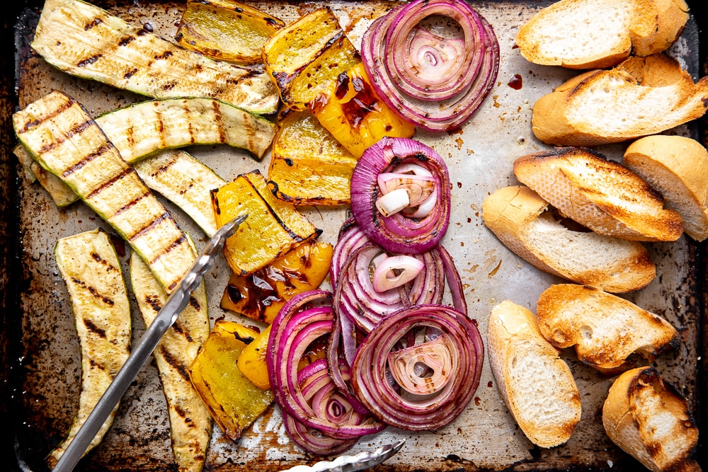 Close up of grilled vegetables and bread
