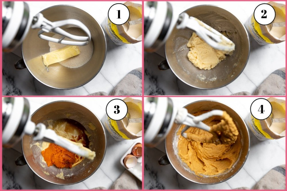 Process shot divided into four quadrants showing steps for making pumpkin pound cake in a stand mixer.
