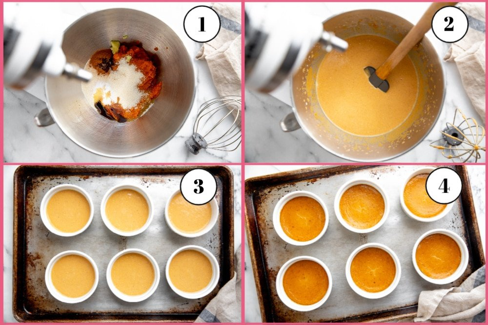 Process shot divided into four quadrants, showing the steps for making the crustless pumpkin pies.