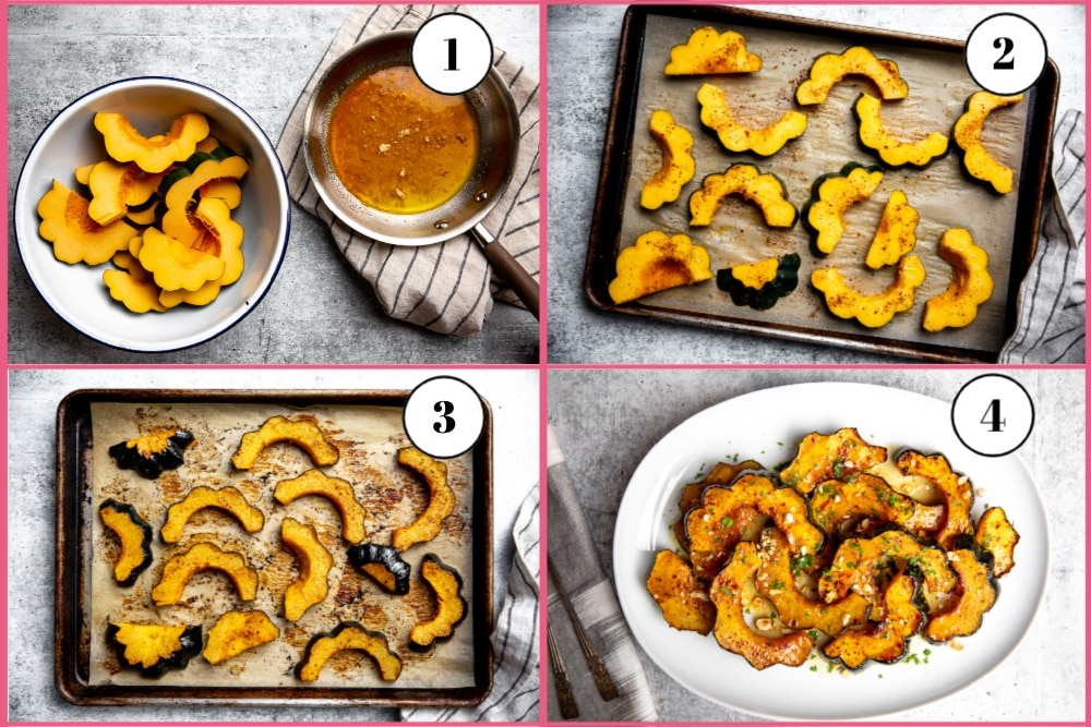 Process shot divided into four quadrants, showing the steps for making roasted acorn squash rings.