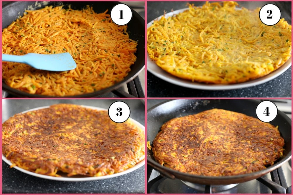 Process shot divided into 4 quadrants, showing the steps for cooking the butternut squash latke cake.