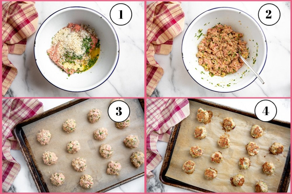 Process shot divided into four quadrants, showing how to make baked turkey meatballs.