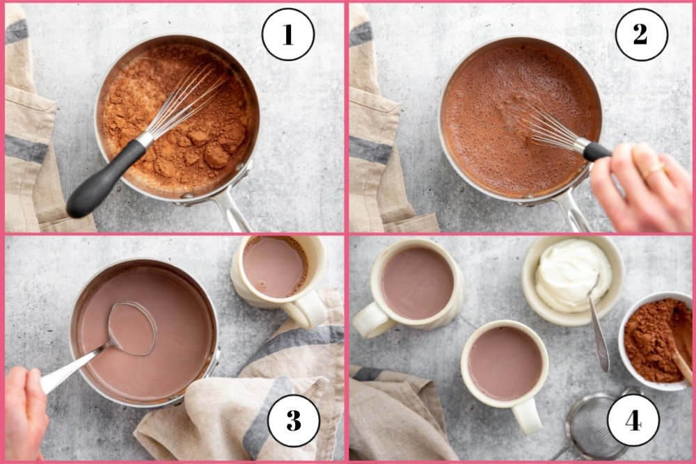 Process shot divided into four quadrants showing the steps for making hot chocolate with cacao powder.