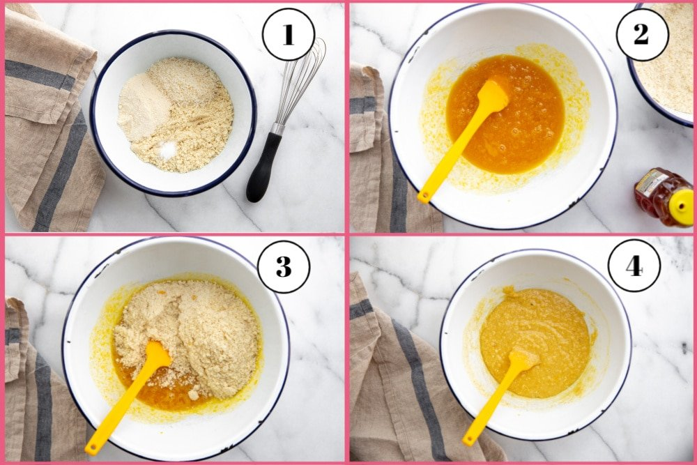 Process shot divided into four quadrants showing the steps for making almond coconut cake.