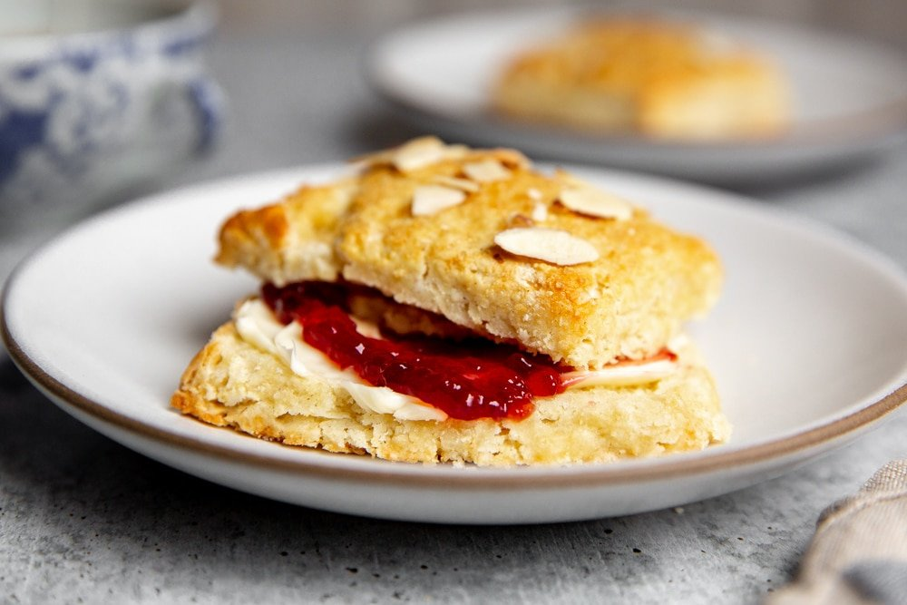 Easy shortcake on a plate filled with butter and jam.
