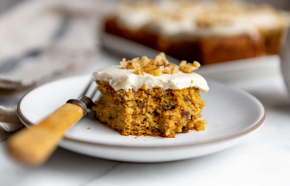 Easy Healthy Gluten Free Carrot Cake with Maple Cream Cheese Frosting