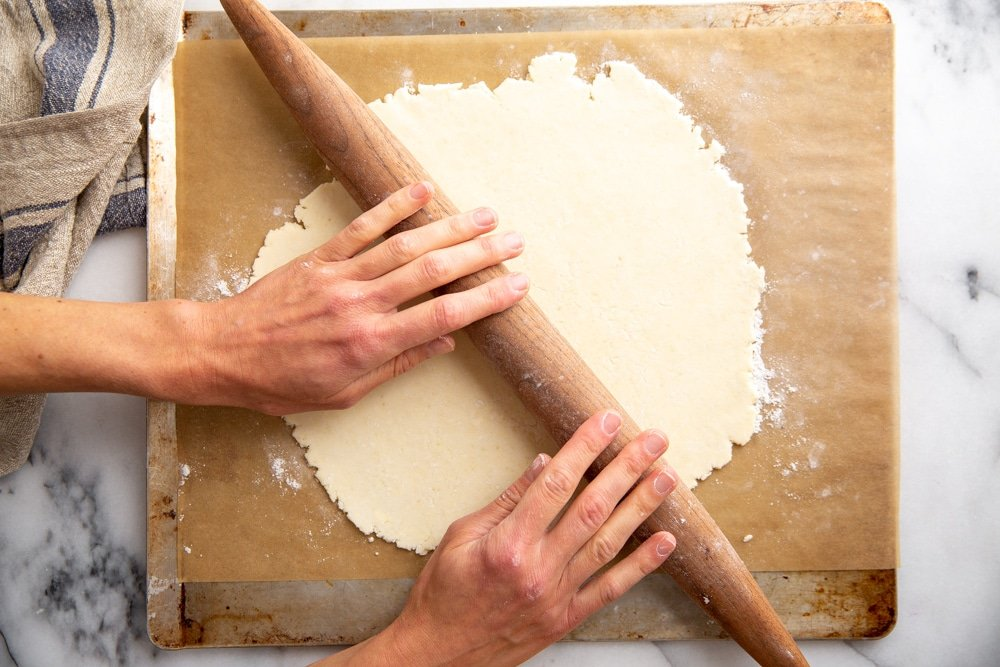 Hands rolling out pie dough on a piece of parchment paper.