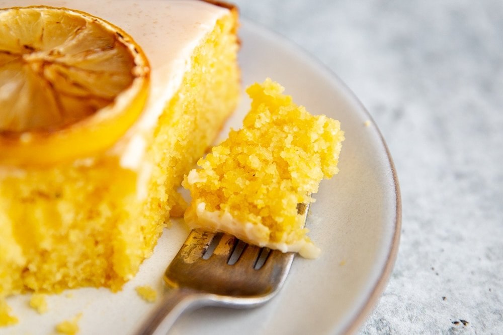 Close up of a forkful of lemon olive oil cake.