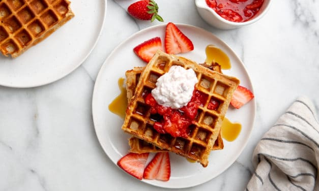 High Protein Gluten Free Strawberry Oat Waffles